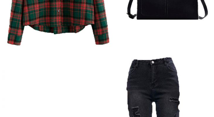 Amazing Outfit Idea for Teen Girls Winter 2020  heckered Shirt Black Skinny Jeans and Black Chunky Heel Short Boots
