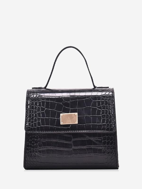 Animal Embossed PU Leather Mini Crossbody Bag - Black