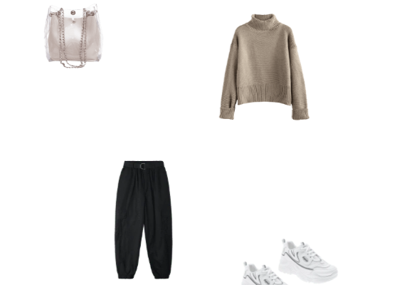 Awesome Casual Office Outfit Idea for Winter 2020 Gray Sweater Black Jogger Pants and White Breathable Outdoor Sneakers