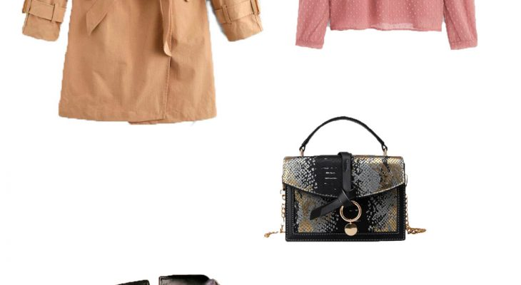 Beautiful Casual Women Outfit for Winter 2020 Beige Trench Coat Pink Blouse Black Leather Shorts and Black Suede Platform Boots