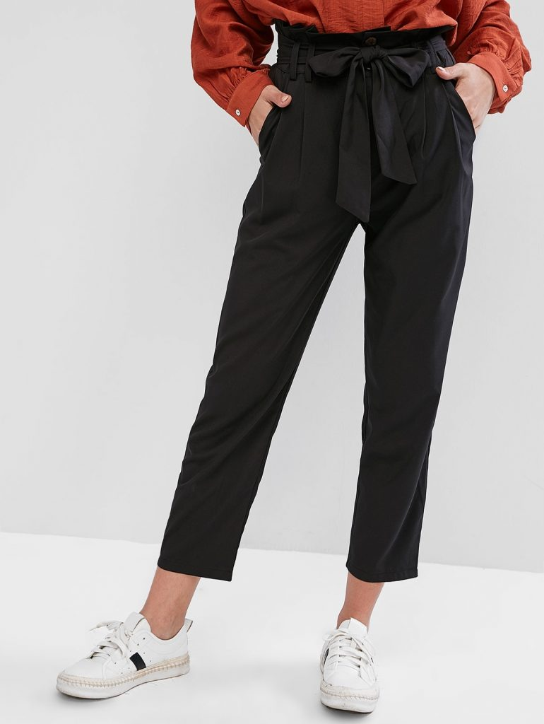 Belted High Waisted Straight Pants - Black M