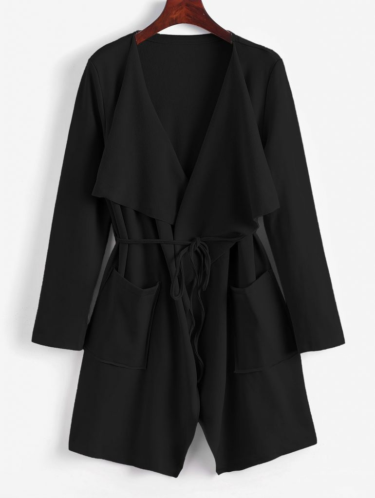 Belted Skirted Patched Pockets Waterfall Coat - Black L