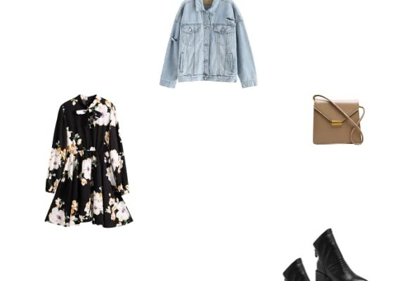 Best Fashionable Night Date Outfit for Women Winter 2020  Dark Blue Ripped Jean Jacket Black Floral Mini Dress and Black Chunky Heel Boots