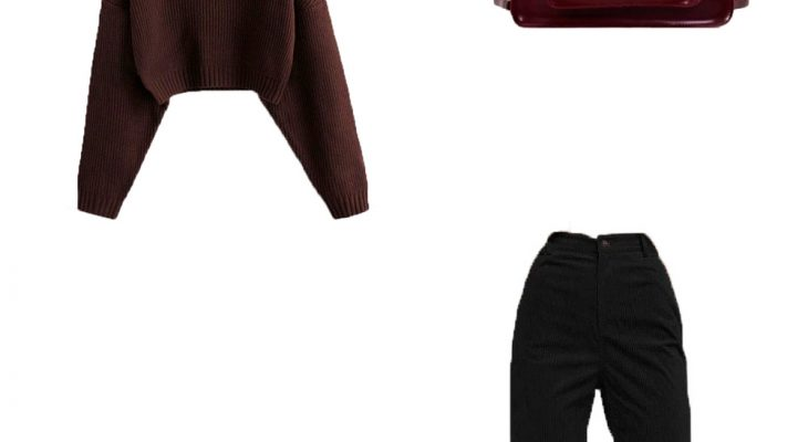 Brilliant Winter Casual Work Outfit Idea For Go To The Office 2020 Deep Brown Sweater Black Corduroy Pants and White Dad Sneakers