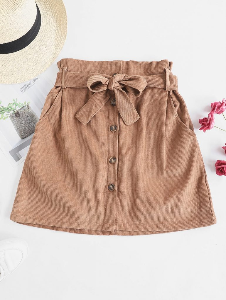 Button Fly Corduroy Belted Paperbag Skirt - Brown S