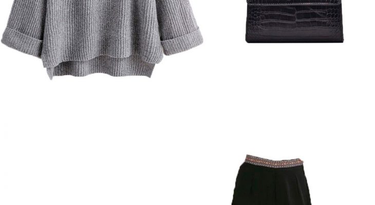 Chic and Comfy Work Outfit Idea for Winter 2020  Gray Sweater Black Palazzo Pants and Black Suede Boots