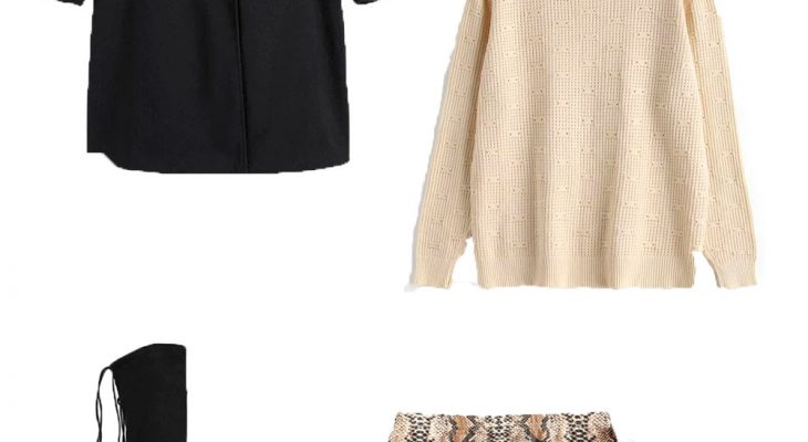 Classic Work Outfit Idea Winter 2020  Black Trench Coat White Knitted Sweater and Snakeskin Print Skirt