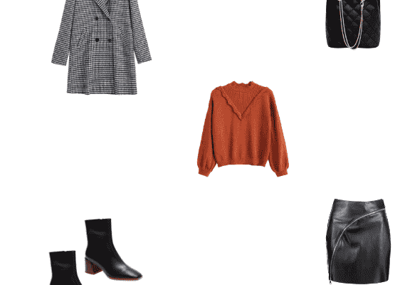 Classy Work Outfit Idea for Winter 2020 Gingham Coat Mahogany Sweater Black  Leather Skirt and Block Heel Short Boots