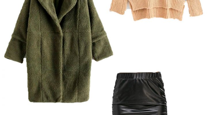 Comfy Office Outfit Idea for Women When Its Cold Winter 2020  Khaki Teddy Coat Beige Sweater Black Leather Skirt and Beige High Heel Boots