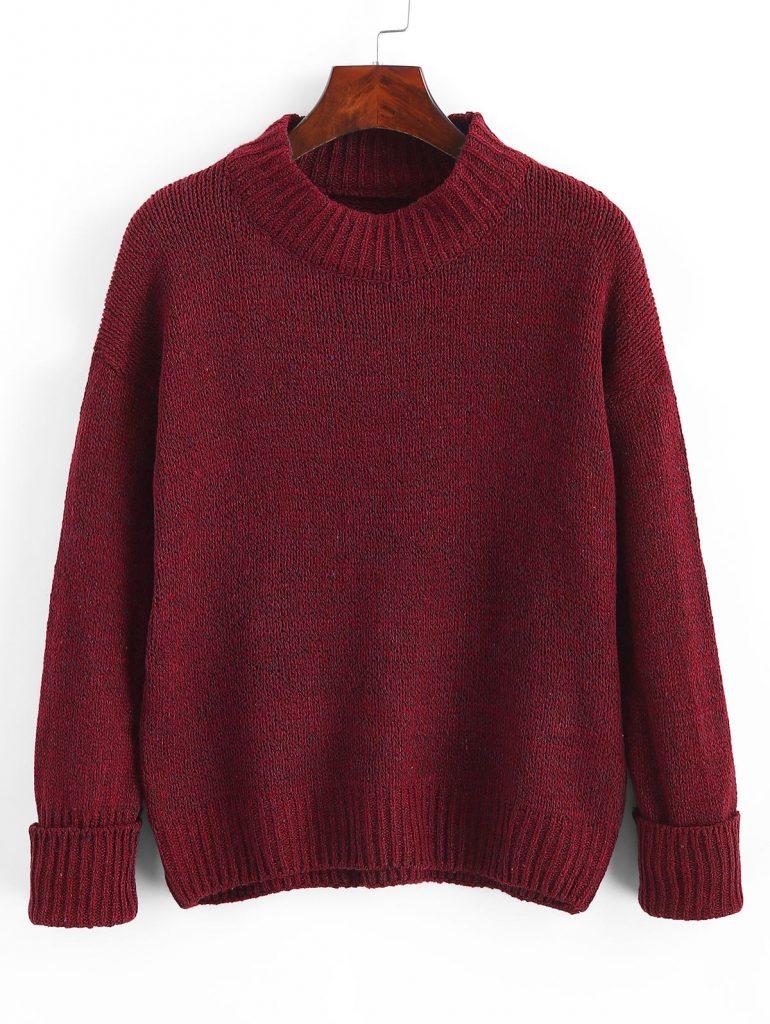 Crew Neck Heathered Loose Sweater - Red Wine