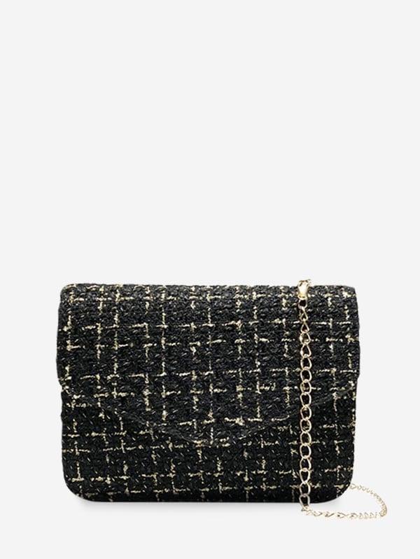 Crossbody Linen Square Chain Shoulder Bag - Black