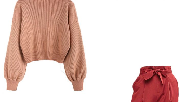 Cute Outfit for High School Winter 2020 Beige Sweater Red Waine Pants and Light Brown Chunky Heel Sandals