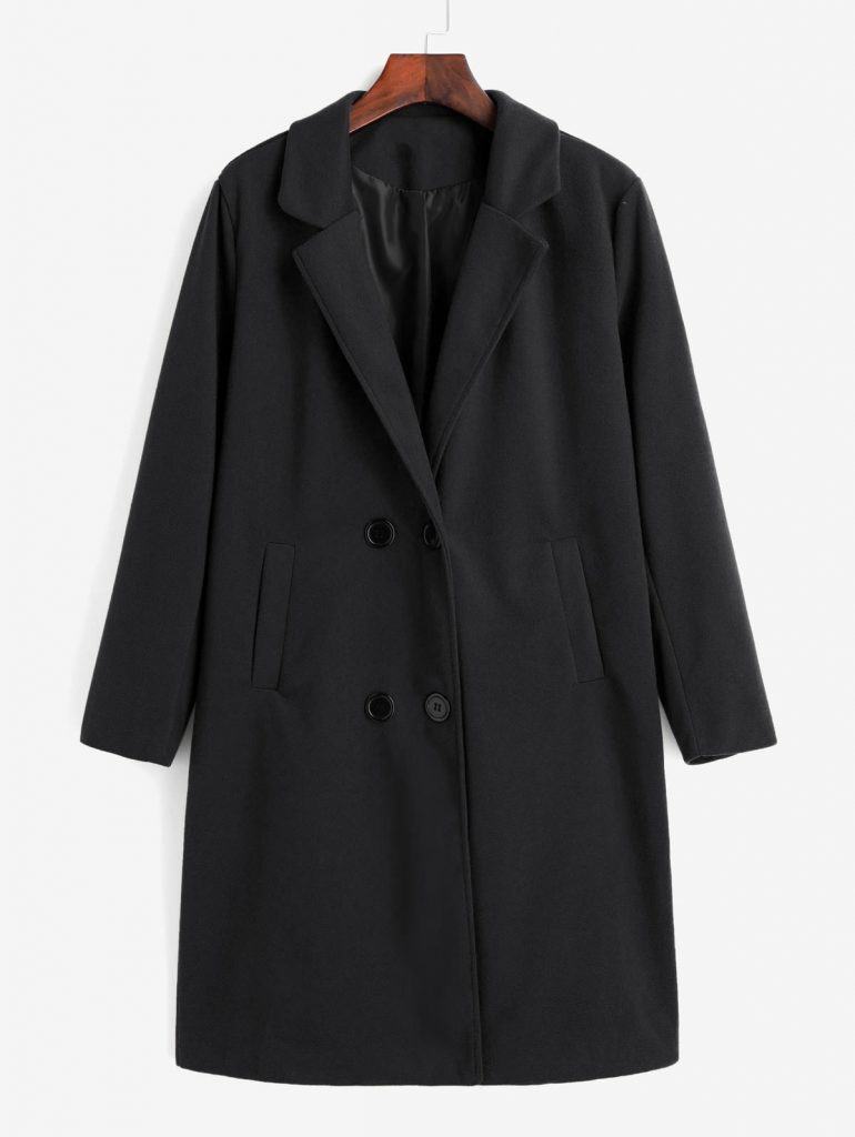 Double Breasted Pocket Trench Coat - Black S