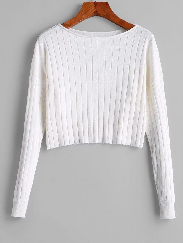 Drop Shoulder Slash Neck Cropped Sweater - White S