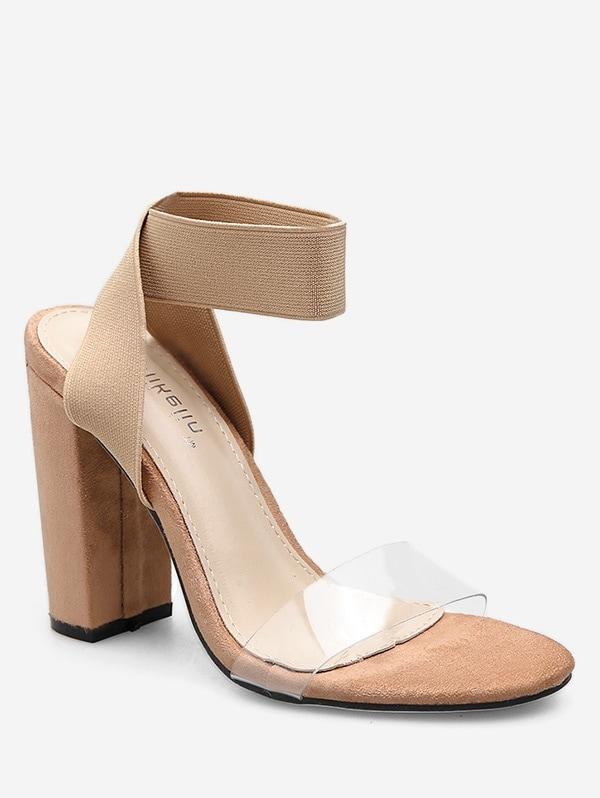 Elastic Band Chunky Heel Sandals - Apricot Eu 37