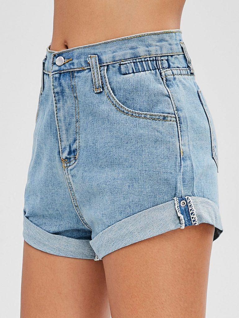 High Waisted Denim Cuffed Shorts - Denim Blue S