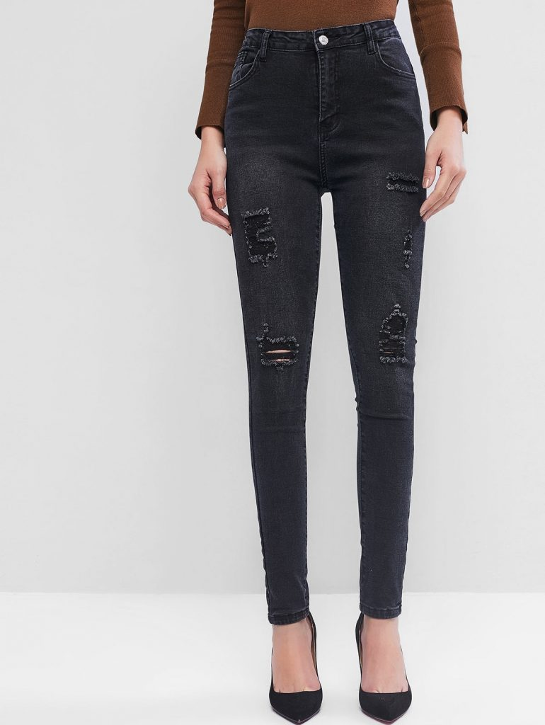 High Waisted Destroyed Tapered Jeans - Black M