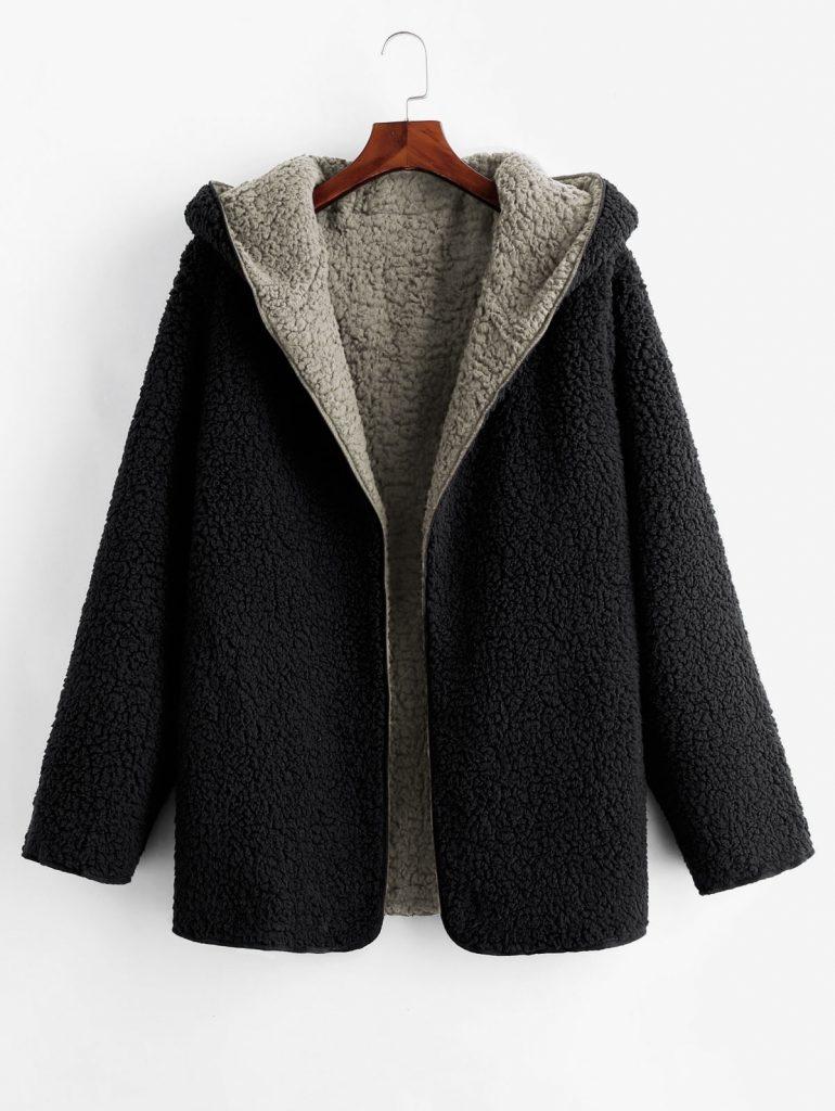 Hooded Open Front Lamb Wool Teddy Coat - Gray S