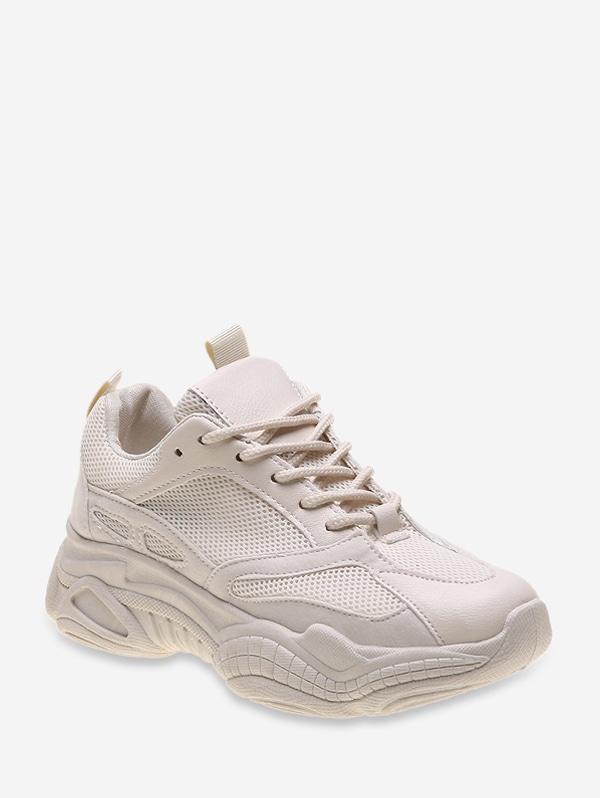 Lace Up Mesh PU Casual Sneakers - Beige Eu 38