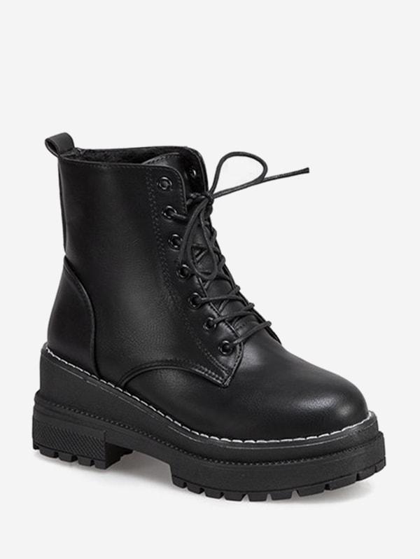 Lace Up Platform Chunky Heel Ankle Boots - Black Eu 38