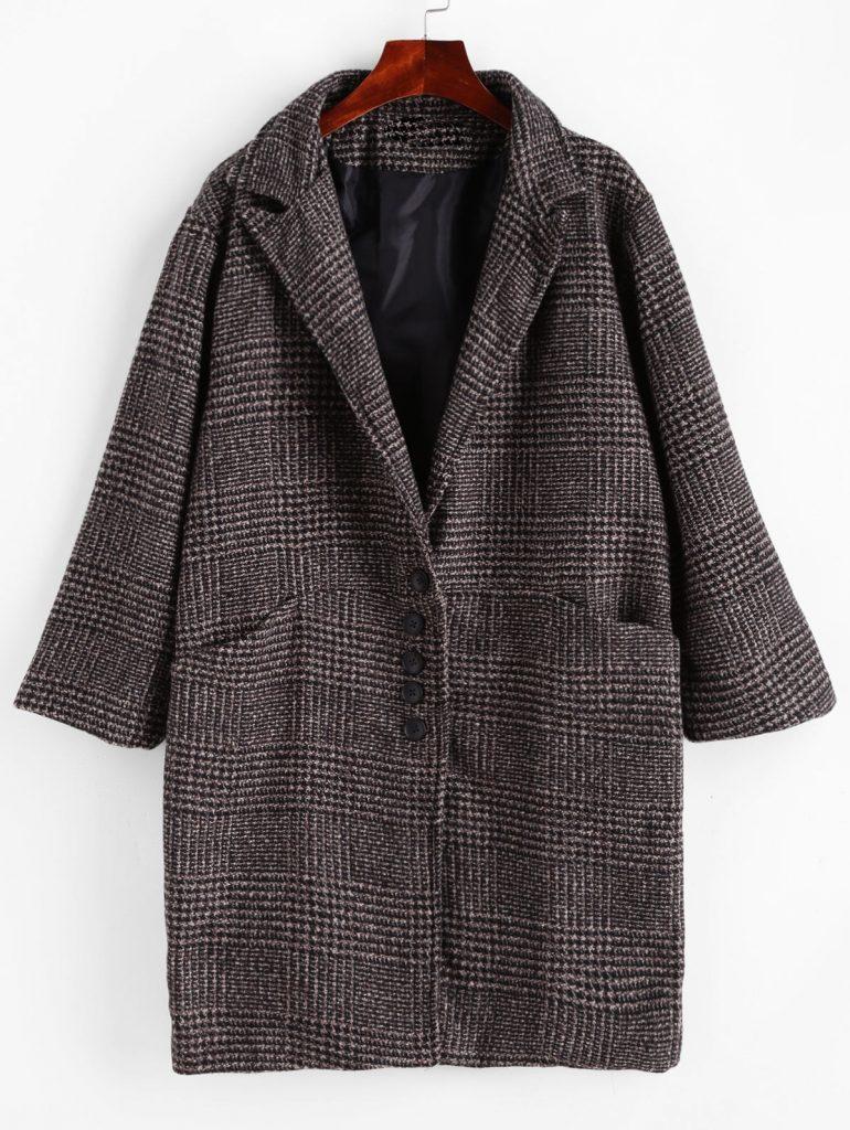 Lapel Pocket Drop Shoulder Plaid Coat - Dark Gray L