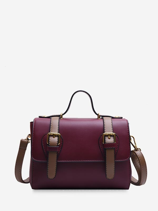 Leather Double Buckle Decorate Shoulder Bag - Red Wine