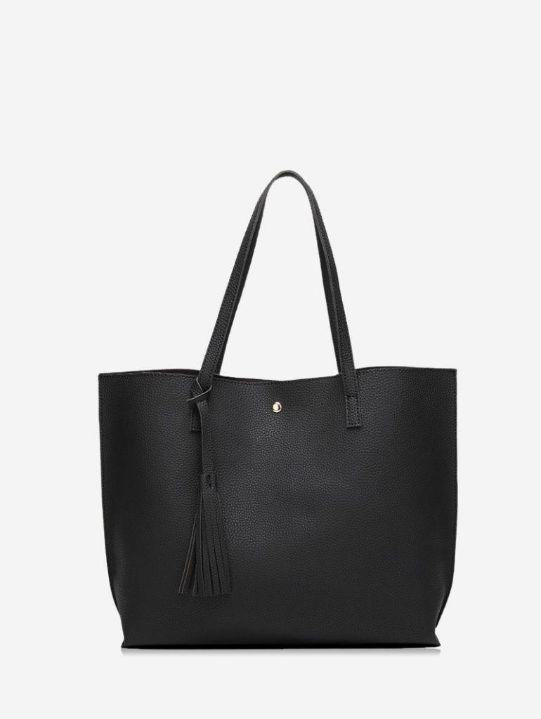 Litchi Grain Solid Color PU Shoulder Bag - Black