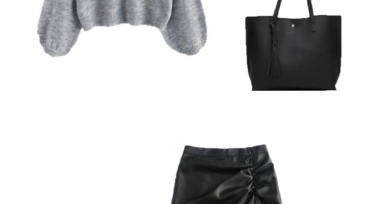 Lovely Winter Outfit For College Girls 2020 Gray Pearl Raglan Sleeve Sweater Black Leather Mini Skirt and Black Boots