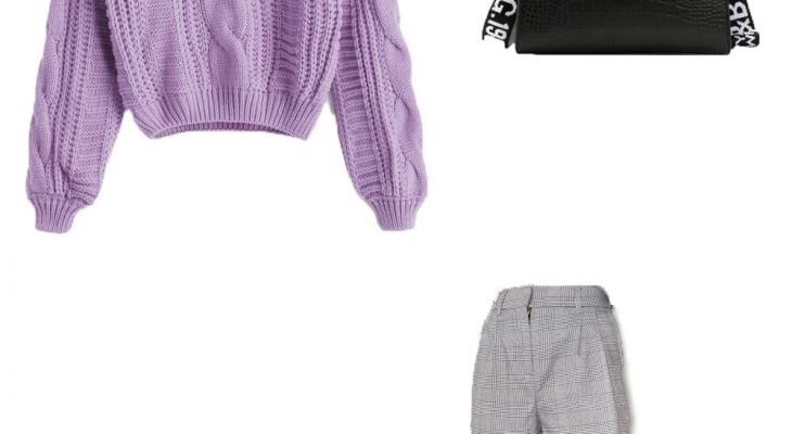 Lovely Winter Outfit Idea 2020 for College  Purple Knit Sweater Light Gray Pants and  Black Chunky Heel Boots