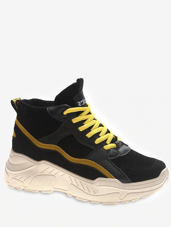 Mid Top Platform Sneakers - Yellow