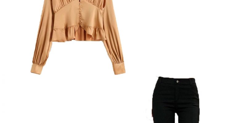 Most Comfortable Office Outfit For Women Winter 2020 Champagne Gold Satin Blouse Black Skinny Pants and  Black Pumps