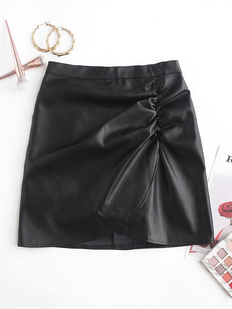 Overlap Gathered Front PU Leather Mini Skirt - Black 2xl