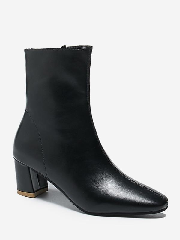 PU Square Toe Chunky Heel Solid Boots - Black Eu 39