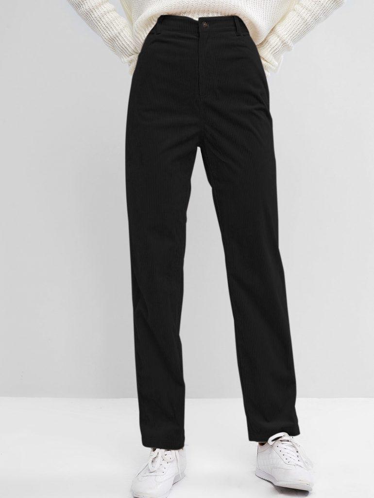 Pantalones De Talle Alto Pana ZAFUL - Negro S