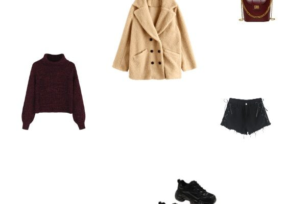 Perfect and Comfy Casual Outfit Winter 2020 with Beige Teddy Coat Wine Red Sweater Black Denim Shorts and Black Outdoor Sneakers