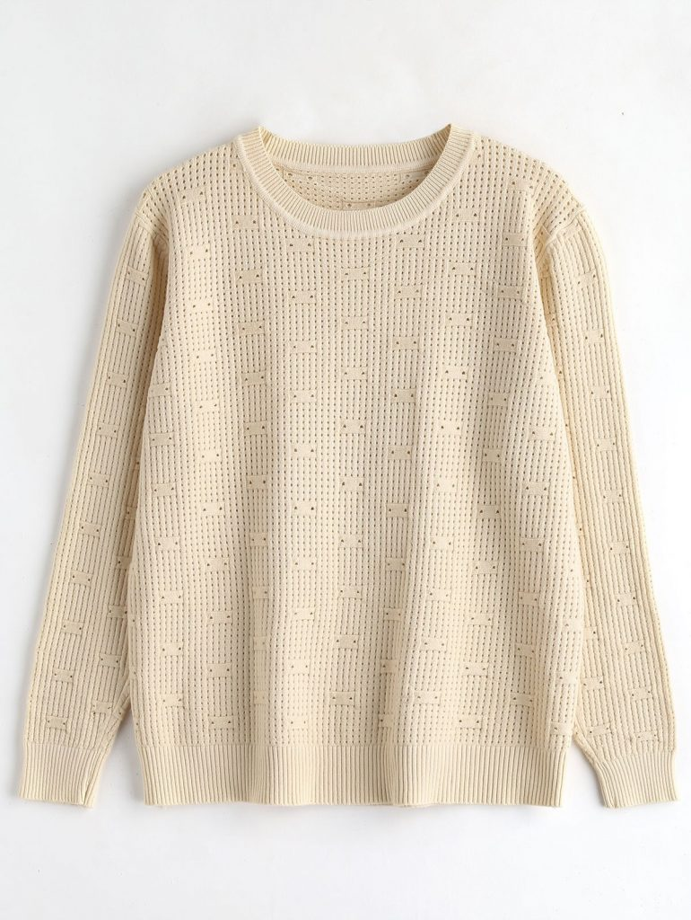 Perforated Knitted Pullover Sweater - Apricot