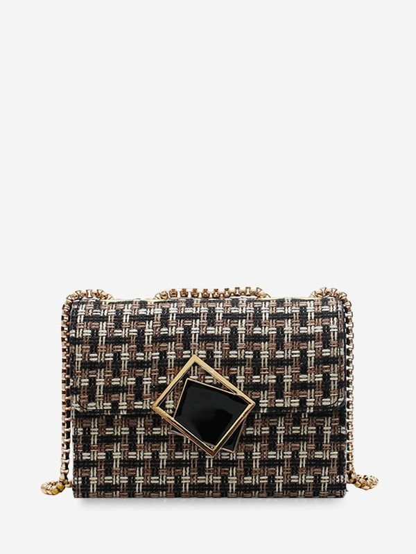 Plaid Square Small Buckle Shoulder Bag - Black
