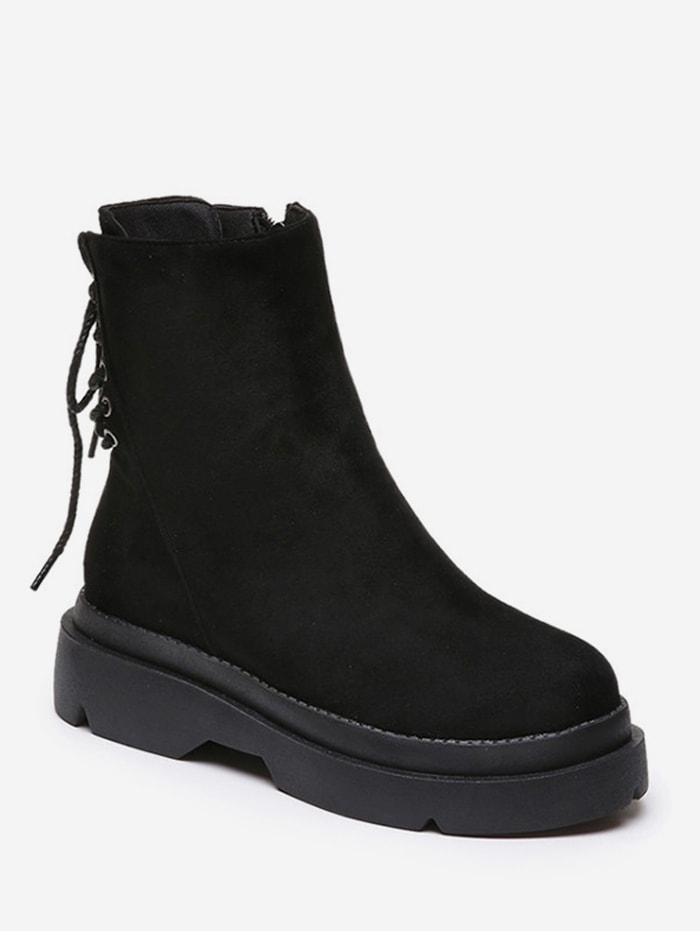 Plain Lace Up Back Suede Platform Boots - Black Eu 37