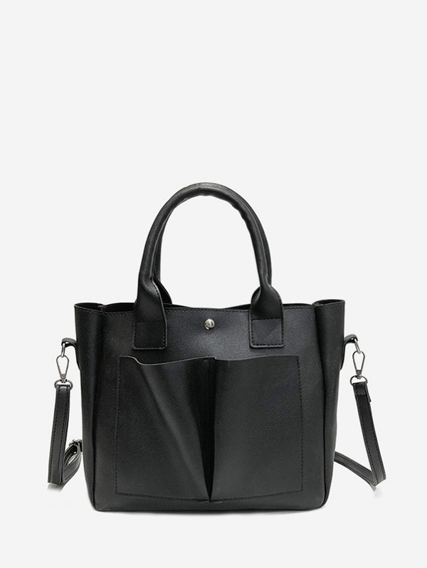 Retro Pocket Design Tote Bag - Black