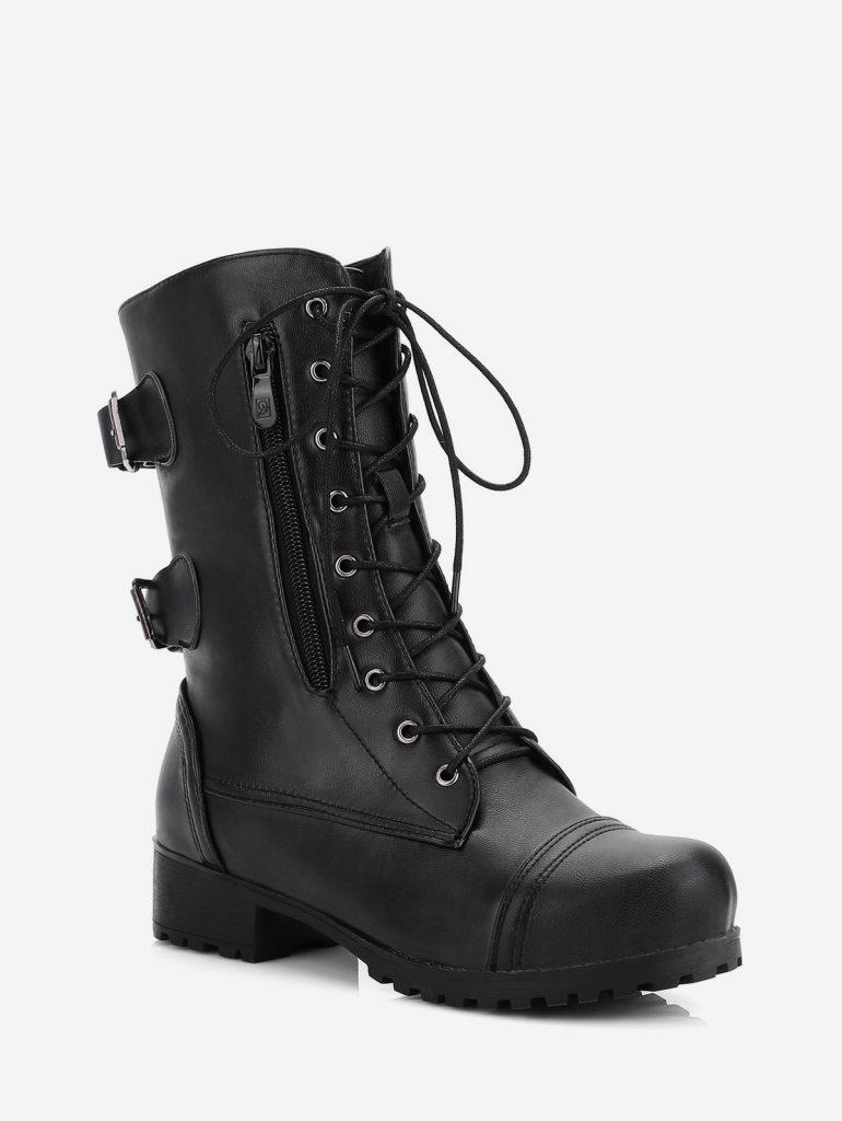 Retro Side Zipper Buckle Decoração Boots - Preto Ue 40