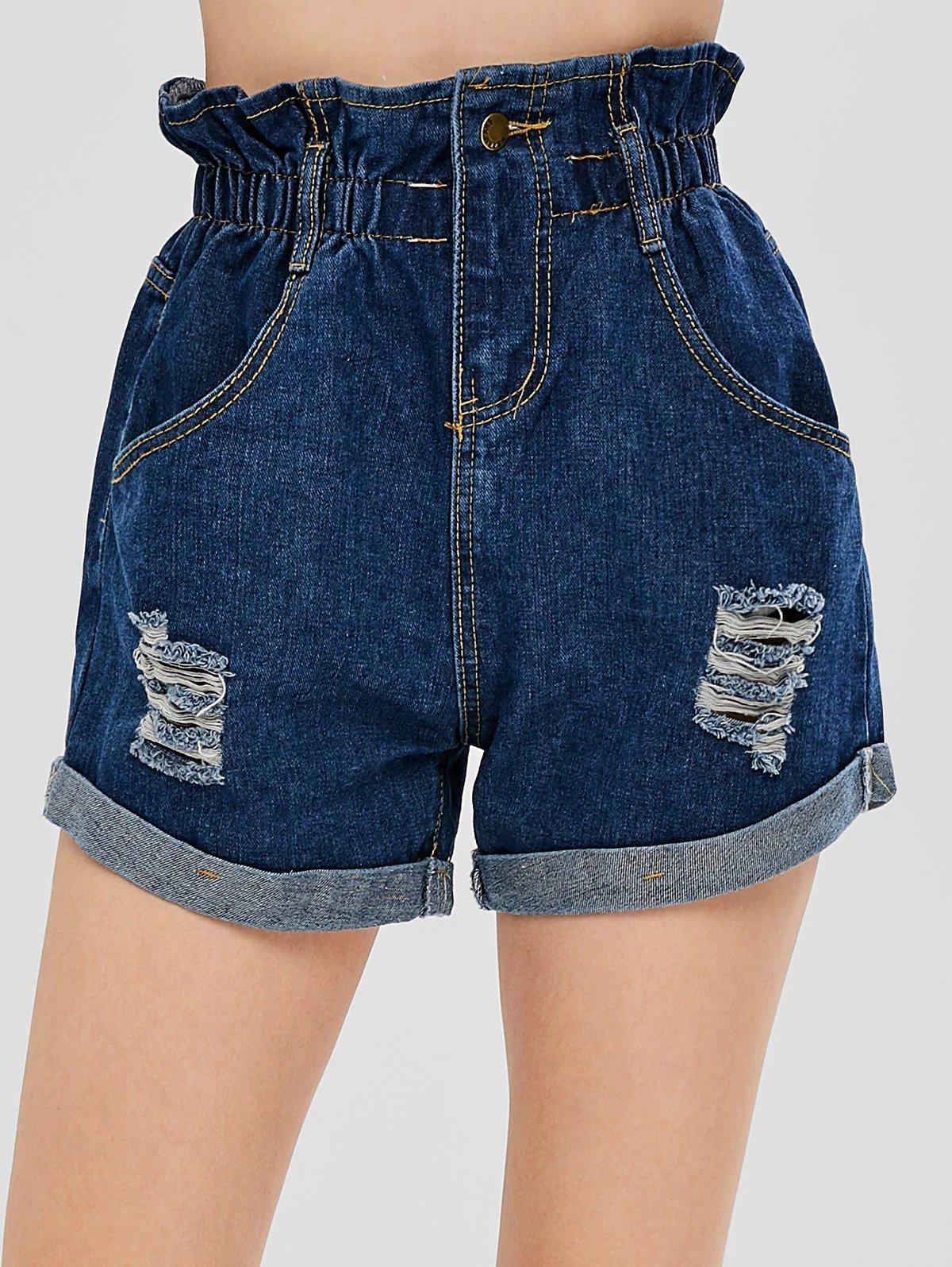 Ripped Denim Cuffed Shorts - Denim Dark Blue