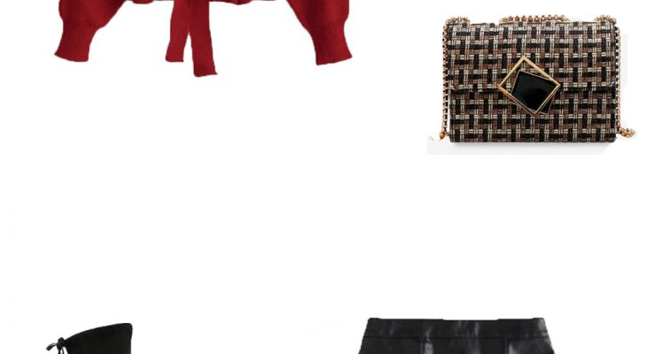 Romantic Outfit for a Date Night Winter 2020  Red Wine Sweater Black Leather Mini Skirt and Black High Boots