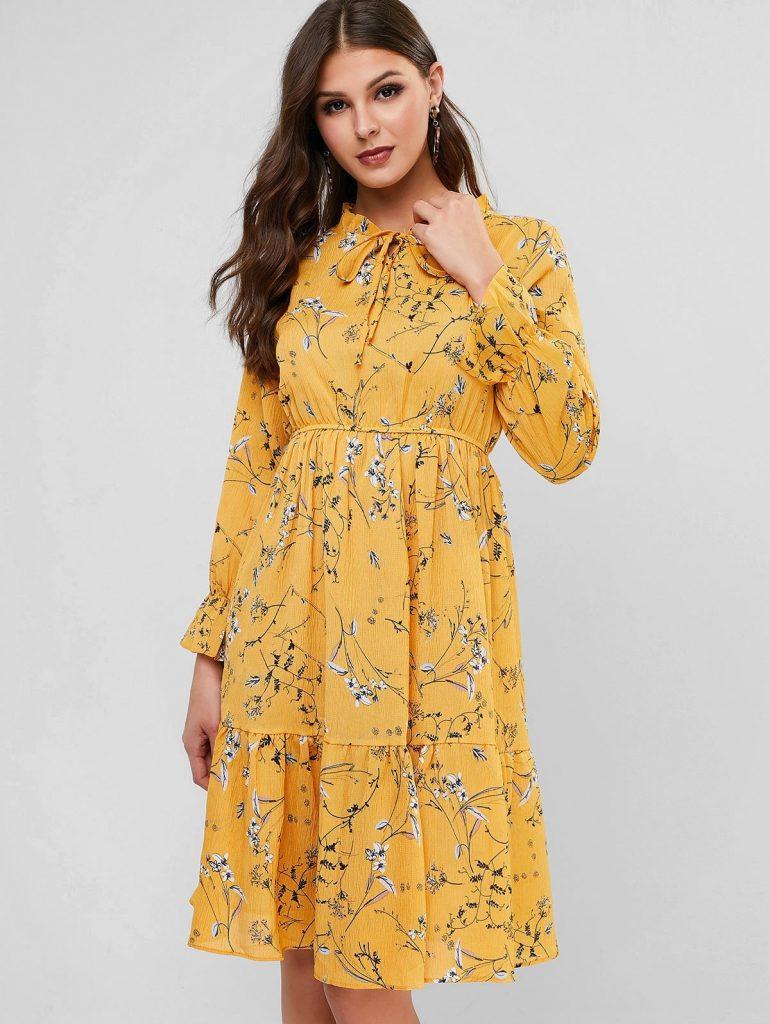 Ruff Collar Flower Print Flounce Long Sleeve Dress - Yellow S