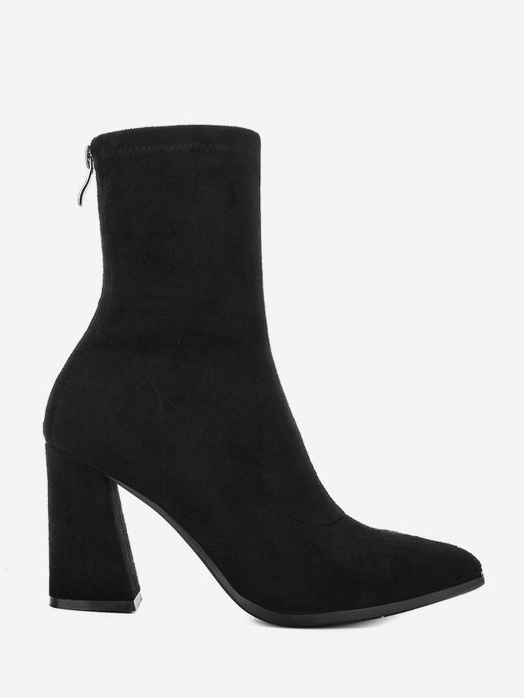 Sapato De Bico Fino Chunky Heel Meia-perna Botas - Preto Ue 38