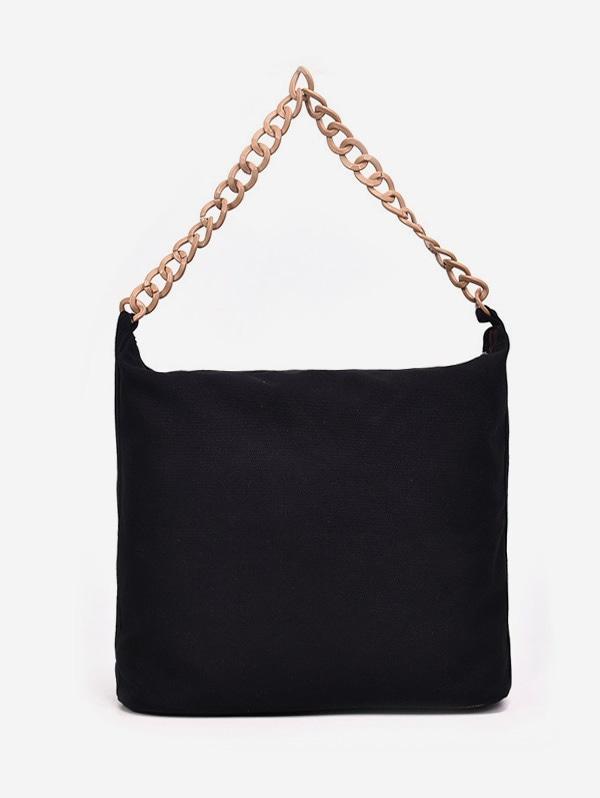 Solid Color Chain Strap Design Shoulder Bag - Black