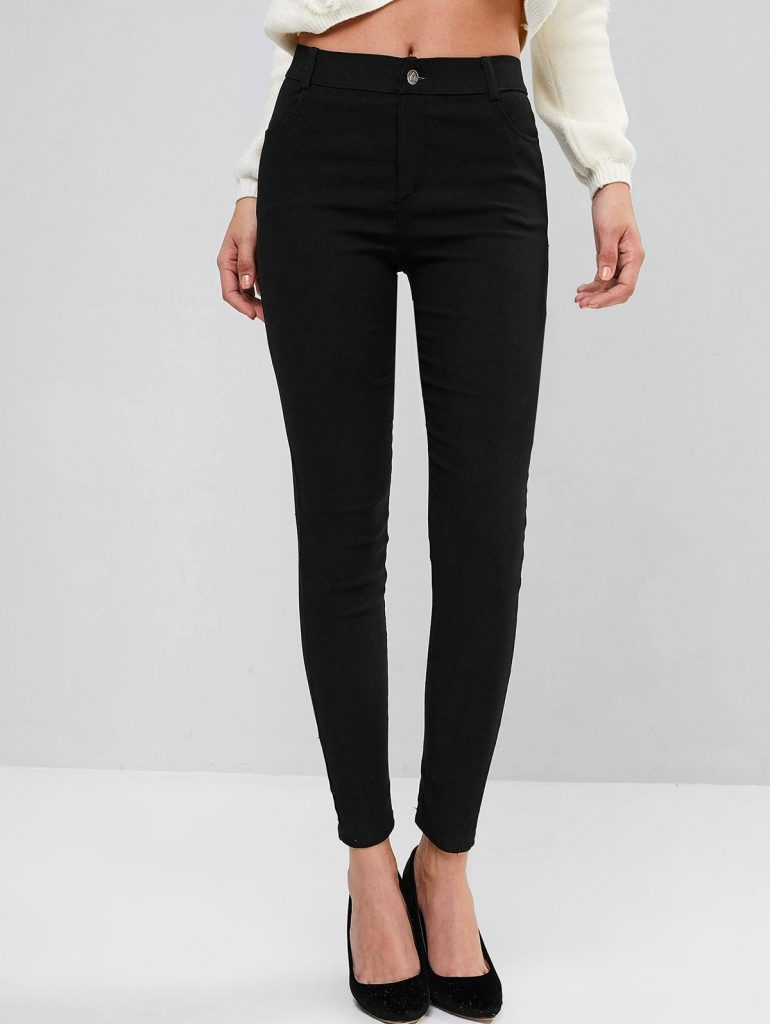 Solid Mid Rise Four Pockets Skinny Pants - Black S