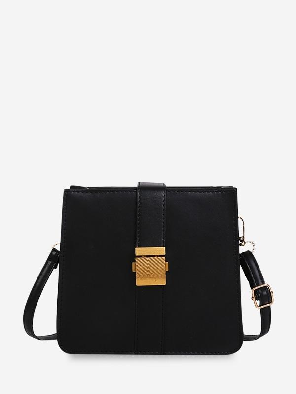 Square Buckle Classic Shoulder Bag - Black