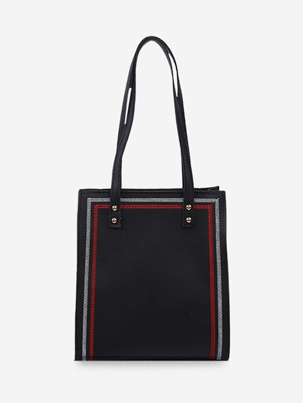 Square Simple Solid Student Tote Bag - Black