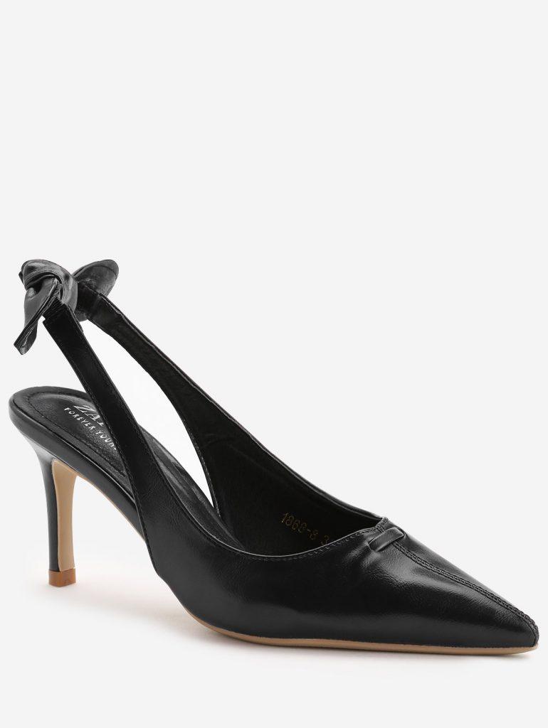Stiletto Heel Bowknot Leisure Pumps - Black 38