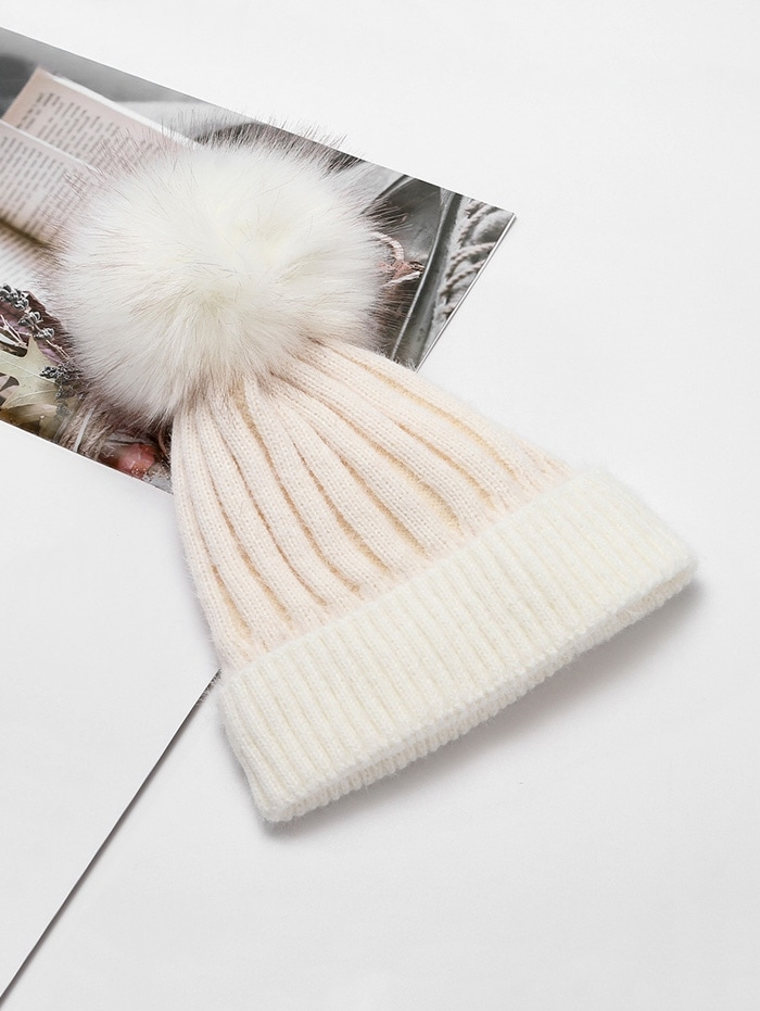 Striped Winter Solid Fuzzy Ball Knitted Hat - White